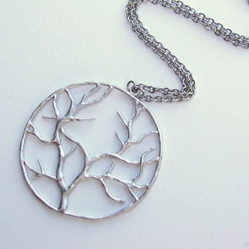 White Gold Tree of Life Necklace, pendant, gift, wedding, mother, wife, sister, daughter, bridesmaid, birthday, fall fashion, back to school