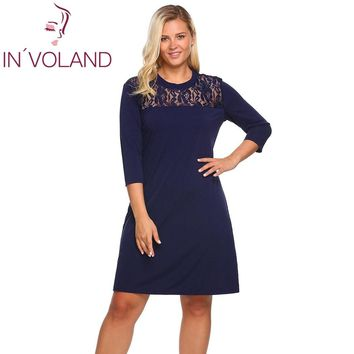 IN VOLAND Women Dress Oversized Spring Autumn O-Neck 3/4 Sleeve Floral Lace Patchwork Casual Loose Shift Dresses Plus Size 4XL