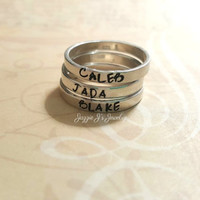 Hand Stamped Sterling Silver Stacking Ring, Mother Ring, Name Ring, Personalized Ring, Gift for Her, Stackable Name Ring