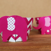 Printable 3D Elephant Cupcake Wrapper Set in bright pink chevron and polka dots – perfect for a baby shower or birthday - INSTANT DOWNLOAD