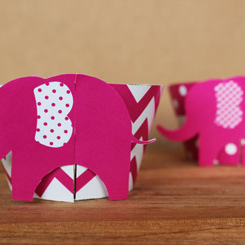 3D Pink Elephant Cupcake Wrappers in bright pink chevron and polka dots – DIY party printable - baby shower or birthday - INSTANT DOWNLOAD