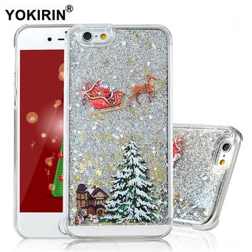 YOKIRIN For Apple iPhone 6 6S Case Cover Christmas Hard Plastic PC Back Case Bling Glitter Quicksand Skin For iPhone 6 6S