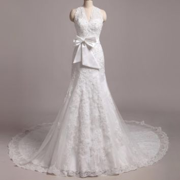 Halter Lace Appliqued Beaded Bow Tie Wedding Dresses