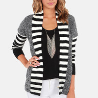 Lavand Draw the Line Ivory and Black Cardigan Sweater