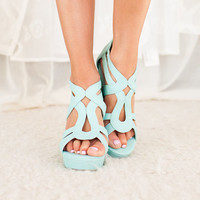 Spring Showers Wedges in Mint CLEARANCE