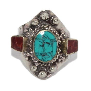 Adjustable Turquoise Coral ring