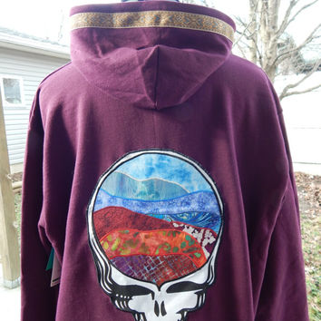 Upcycled Zip Up Hoodie Grateful Dead Steal Your Face  hoodie Womens Size XXL Patchwork Hippie clothes, boho chic, OOAK Hoodie,Womens Hoodie