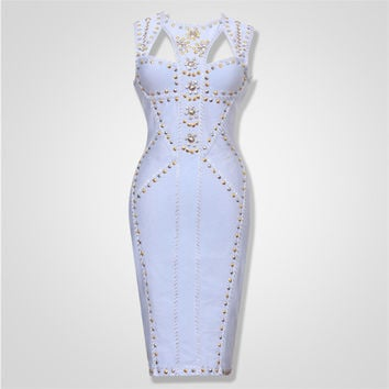 Free Shipping 2016 Elegant Women Dresses New Arrival Light Blue Metal Embellished HL Celebrity Bandage Dress