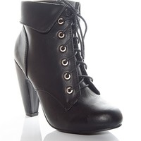 Bamboo Shoes Grand Time Cuffed Lace Up Ankle Booties - Black