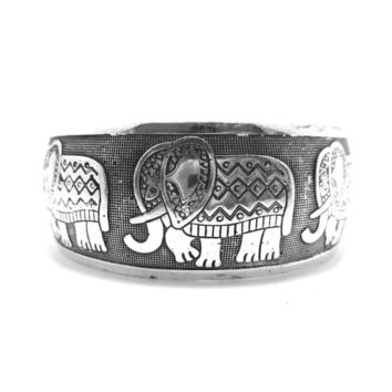 Abstract Elephant Shaped Bangle Cuff Bracelet in Silver | Animal Jewelry