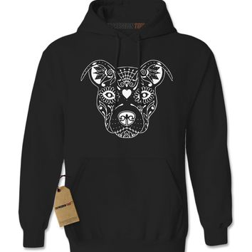 Pitbull Sugar Skull Day Of The Dead Adult Hoodie Sweatshirt