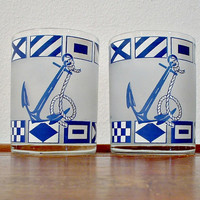 Vintage Culver Glasses Nautical Flags Anchors  Blue White Rocks Set of 2 Signed