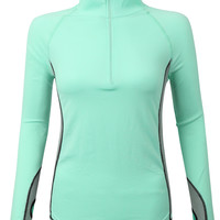 LE3NO Womens Lightweight Half Zip Up Long Sleeve Active Sports Jacket Top