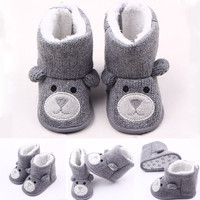 Winter Warm First Walkers Baby Shoes Cartoon Bear Infant Toddler Girl Shoes Baby Boots Booty Newborn Baby Snow Knitted Boy Shoe