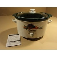 Proctor Silex Slow Cooker Crock Pot 3-Qt White/Green Oval 33375 -- Used