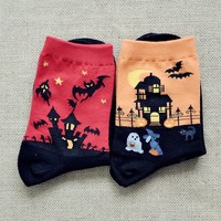 FunShop Woman's Halloween Bats Pattern Cotton Ankel Socks in 2 Colors Orange SK1030