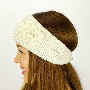 Knit Headband Ivory Turban Women's Accessories Ivory Knit Earwarmers Knitted Headband Hair Accessories knit turban crochet flower headband