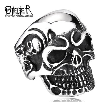 Free Shipping Drop Ship Big Punk Biker Skull Ring For Man Stainless Steel Unique Punk Men Cool Jewelry Vintage Jewelry BR8-068