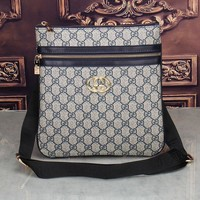 Gucci Crossbody Bag Men And Women Zipper Monogram Print Bag Grey
