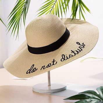 Brand New Letter Embroidery Big Brim Sun Hats Straw Hats For Women Summer Hat Panama Ladies Beach Sun Hat Bucket Free Shipping