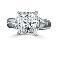 3.5 CT. Radiant Rectangular Classic wide shank sterling silver ring w/Zirconite triangular sides(1 CT. TW.) simulated diamond - Diamond Veneer 635R72090