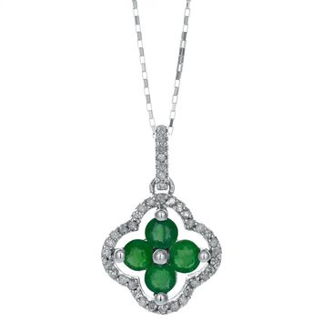 10K White Gold Green Emerald .12 cttw Diamond Round Birthstone Pendant