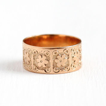 Victorian Cigar Band - Late 1800s Antique 10k Rose Gold Size 6 Ring - Fine Wedding Eternity Scrolling Flower Floral Inscribed Jewelry