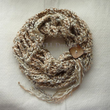 Cappucino Carnegie Hill Infinity Scarf, Crochet Accessories, Cowl Scarf, Loop Scarf, Circle Scarf, Neck Warmer, CR1040 VLL Designs