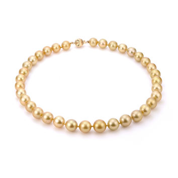IMPERIAL PEARLS BY JOSH BAZAR: EIGHTEEN INCH 10-13MM GOLDEN SOUTH SEA STRAND NECKLACE WITH 14K GOLD CLASP