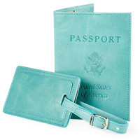 Leather Passport/Luggage Tag, Aqua, Passport Cases