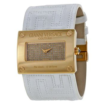 Versace V-Couture Gold Diamond Pave Dial White Leather Ladies Watch
