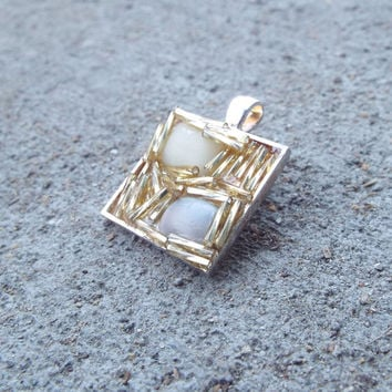 Square Framed Necklace, Fused Glass Necklace, Minimalist Jewlery, bead Necklace, Asian Inspired