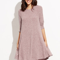Burgundy Ribbed Marled Knit Swing Dress