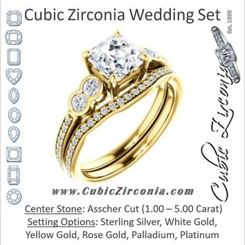 CZ Wedding Set, featuring The Eneroya engagement ring (Customizable Enhanced 5-stone Asscher Cut Design with Thin Pavé Band)