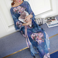 Women's Maxi Dress Round Neckline Lotus Sleeve Printing Chiffon Beach Dresses
