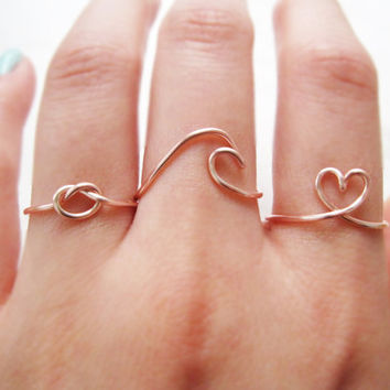 wave ring, love knot ring, heart ring, love knot ring set, wave ring set, rose gold ring set, rose gold knot ring, knot ring, ring set, gift