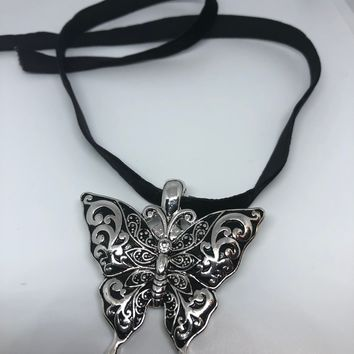 Blue Handmade Gothic Styled Silver Finished Butterfly Choker Necklace