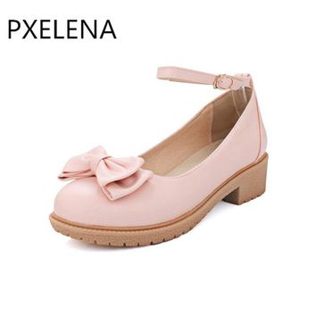 PXELENA New 2018 Mary Jane Lolita Elegant Ankle Strap Shoes Female Round Toe Square Heel Sweet Bowtie Collegiate Plus Size 34-43