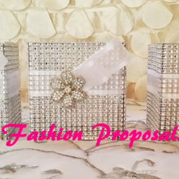 Sale 3 Bling Wedding Centerpiece, Bridesmaid bouquet holder Bling wedding flower vase, Bling Centerpiece, Bling candle holder.