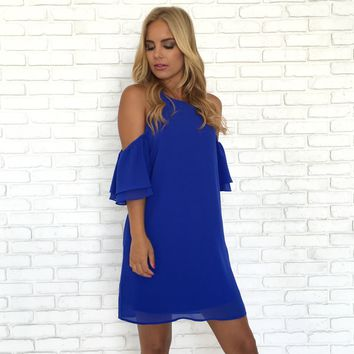 Blitz Double Bell Sleeve Dress In Royal Blue