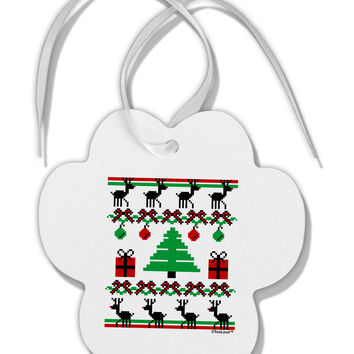 Tree with Gifts Ugly Christmas Sweater Paw Print Shaped Ornament