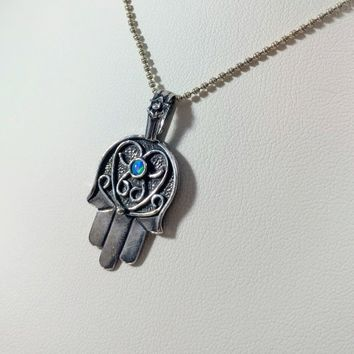 Opal Hamsa Sterling Silver Pendant Necklace, Sterling Silver Opal Hamsa Necklace, Religious-Style Blue Opal Hamsa (Hand Of God) 1980's