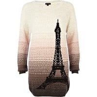 Beige gradated Paris jumper dress