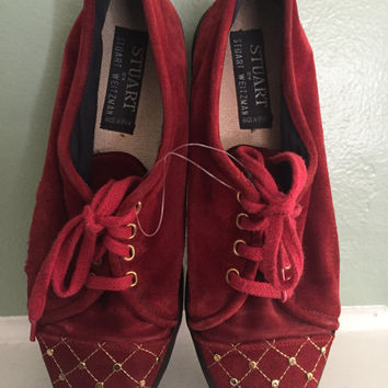 Vintage Stuart Weitzman Lace Oxford Flats Red Gold Shoes Suede Spain Sz 7