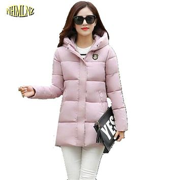 2017 New Thick Medium long Winter Women Down Cotton Jacket Female Hooded Cotton-padded jacket Fashion Slim Warm Coat  G2895