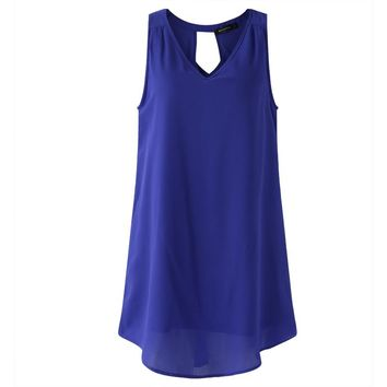 New Women's Summer Chiffon Mini Dress with Sexy Hollow Out on Back.    In Sizes From Small to 5XL.    Colors: Royal Blue, Black and Wine Red.   ***FREE SHIPPING***
