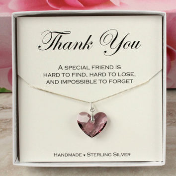 Hostess gift, Thank you gift for friend, bridesmaid, Maid of Honor, 925 Sterling silver Swarovski crystal purple heart necklace