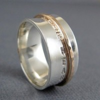 Spinner ring Follow Your Heart - Silver and 10k Gold ring | TwoSilverMoons - Jewelry on ArtFire