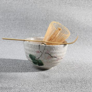Tea Ceremony Matcha Ceramic Tea Bowl Bamboo Tea Scoop Matcha Whisk Japanese Teaware Tea Tool 4 Style matcha bowl set