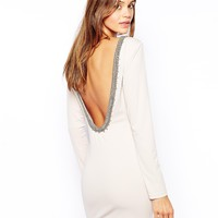 True Decadence Body-Conscious Dress with Embellished Low Back - Cream